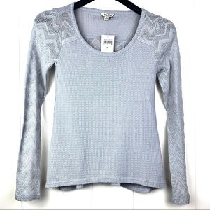 LUCKY BRAND   Gray Ginny Lace & Thermal Knit Top -